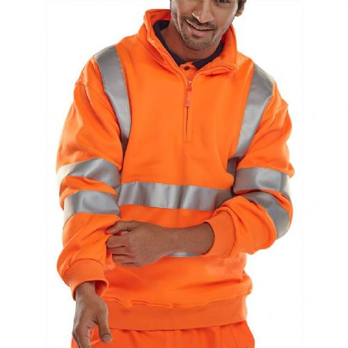 BSeen Hi Vis Orange Quarter Zip Sweatshirt